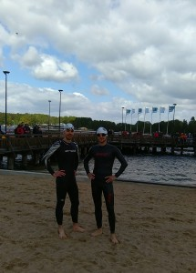 Simon with Pierre-Francois before the start of the swim