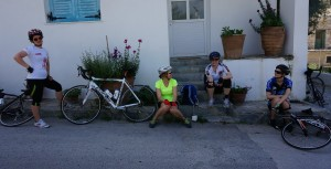 Amalia, on the left, enjoying a pit-stop with the girls on the way to Matala beach