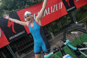Something gives me the impression Olga's happy to have finished the swim ;)